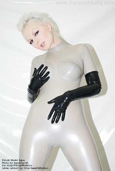 silver latex catsuit